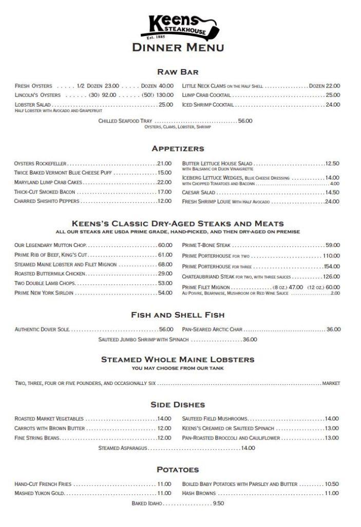 Keens Steakhouse Menu