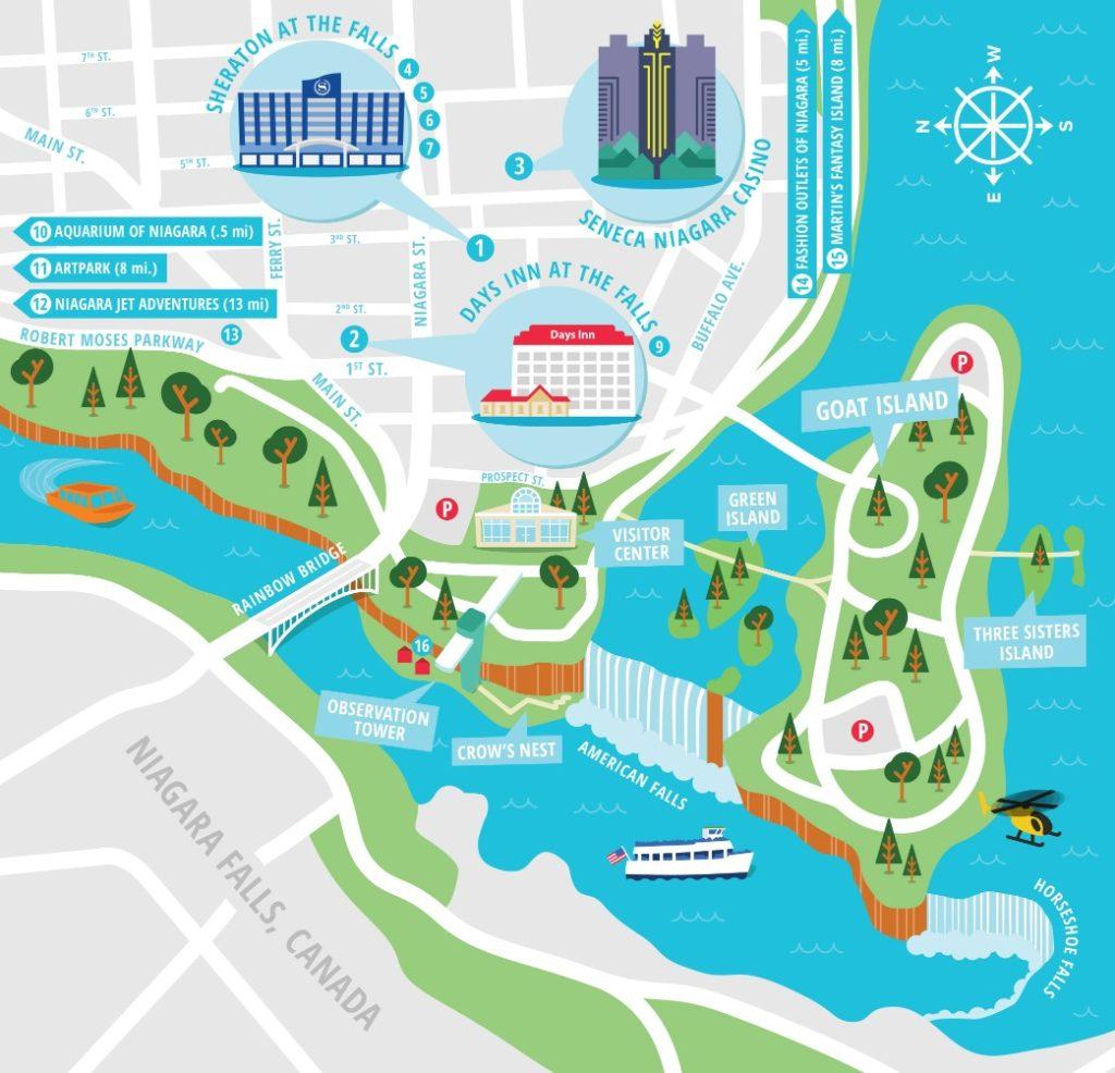 ナイアガラの滝の観光マップ